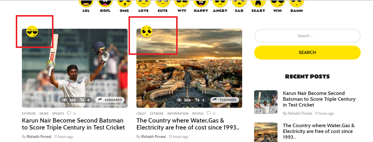Expressing opinions on article's through emoticon.