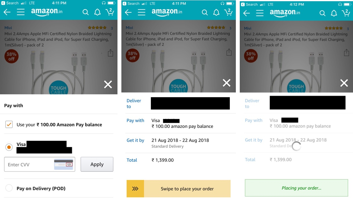 Amazon brings in Single page payment flow