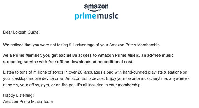 Deep personalization by Amazon for its prime customers