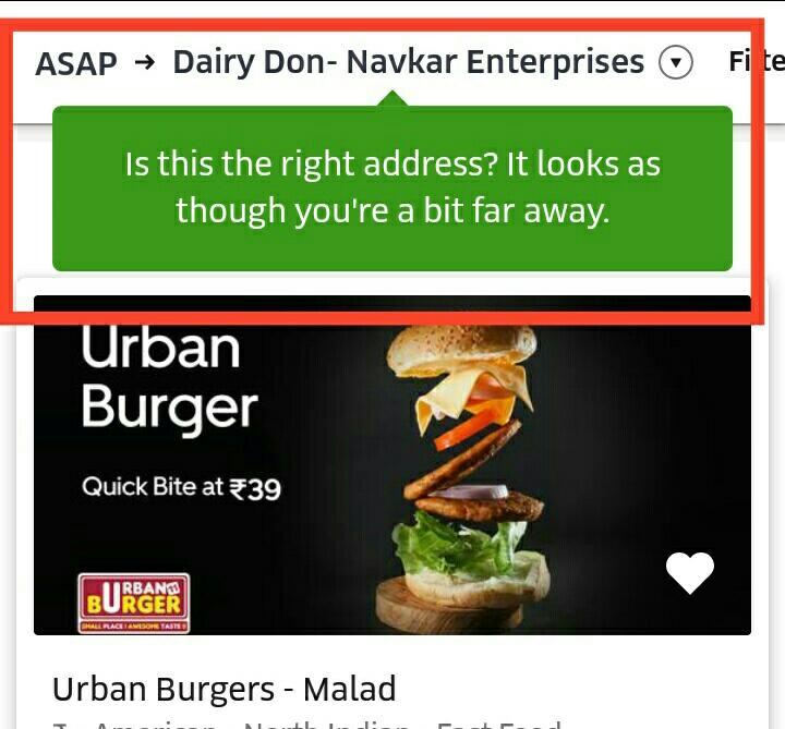 Address change notification on Uber Eats